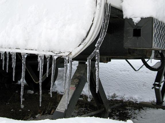 Frozen RV Trim Icicles on Arctic Fox
