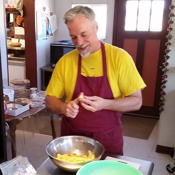 Jim preps pies PIe Town New Mexico