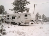 Snow Covered RV Satellite Dish on Arctic Fox Fifth Wheel