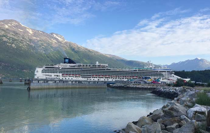 Cruise ship at port in Skagway Alaska