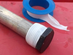 Apply plumber's tape when replacing RV water heater anode.