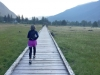 Running on Estuary Boardwalk, Stewart British Columbia