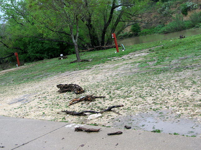 Flooded campsite morning after Guadalupe River RV Park evacuation
