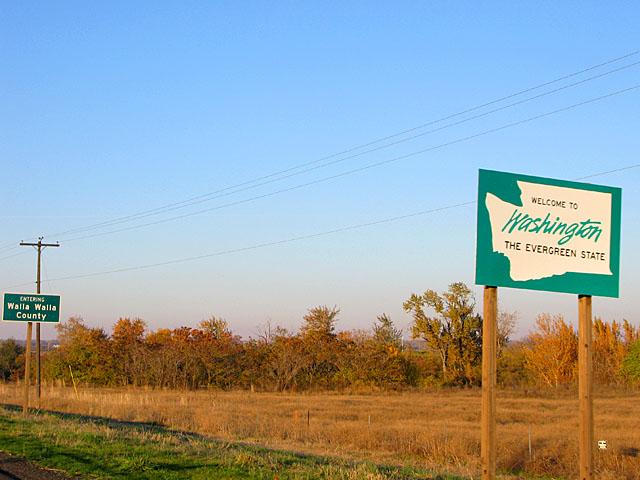 Washington State Border Sign in Walla Walla, WA