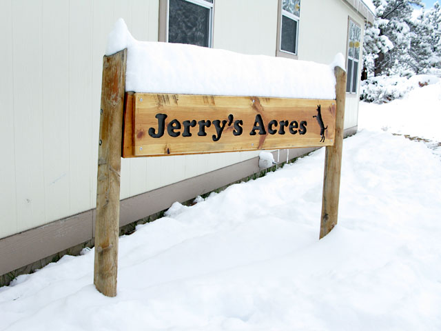 Snow atop Jerry's Acres Sign