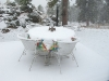 September Snow on Crystal Lakes Home Patio Closed for Winter