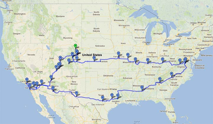 Live Work Dream RV Snowbird Travel Map 2012-2013