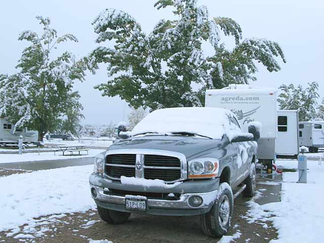 Snoww on RV at Fort Collins. CO KOA