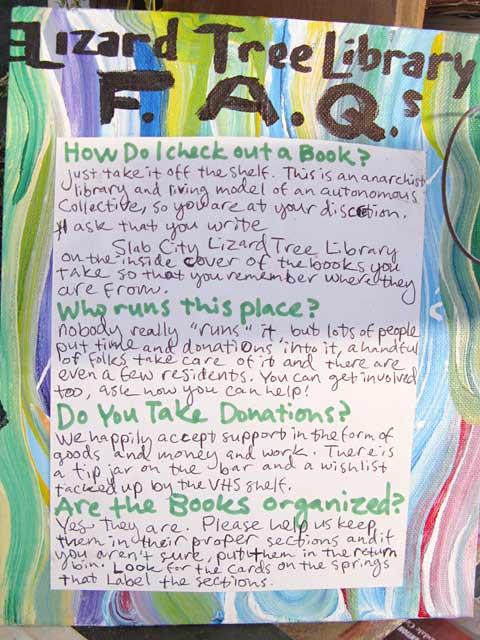 Lizard Tree Library FAQa Slab City