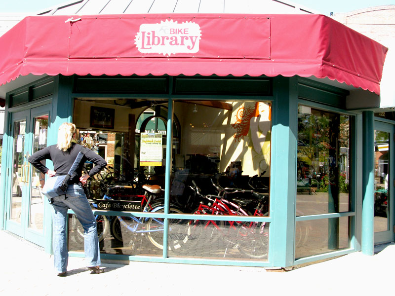 Bike Library in Historic old Town Fort Collins Colorado