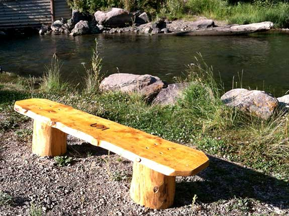 log slab benches made ranch workamping