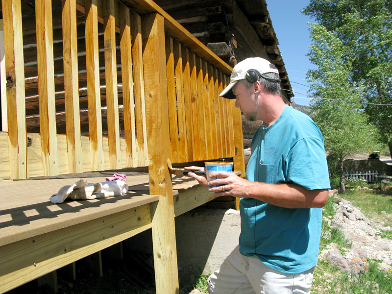 Workamper Jim Paints New Vickers Ranch Deck