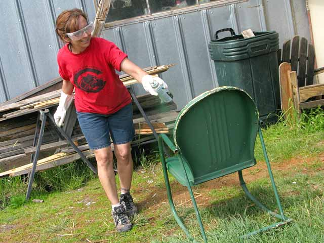 Rene Paints Guest Ranch Chair Workamping at Ranch