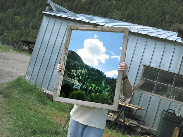 Upcycled Barnwood Mirror Made by Workamping Jim
