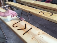 Making Vickers Ranch Brand Picnic Table at Workamping Job