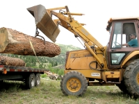 Jim loads log onto Woodmizer mill