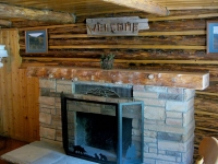 Vickers Ranch Handmade Log Fireplace Mantle