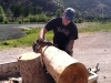 Jim Makes Log Benches by Hand Workamping