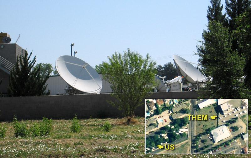 Major satellite dish array next to RV Park