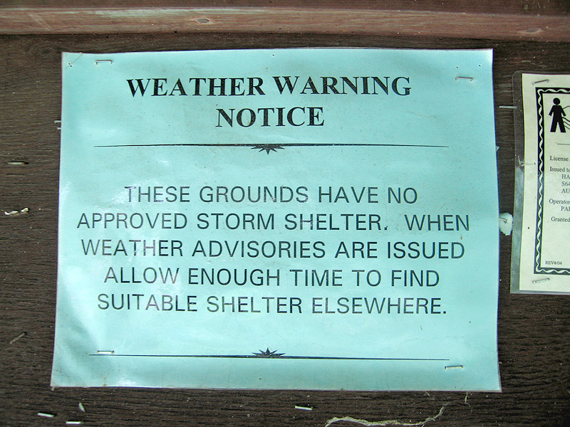 Harstad Park Storm Warning Sign