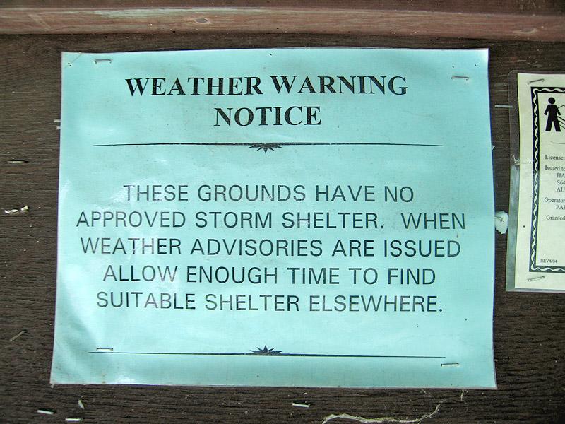 Harstad Park Storm Warning Sign