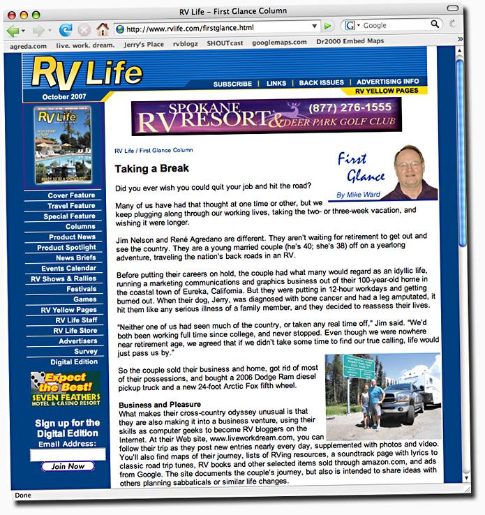 RV Life Magazine Profiles Agreda Communications