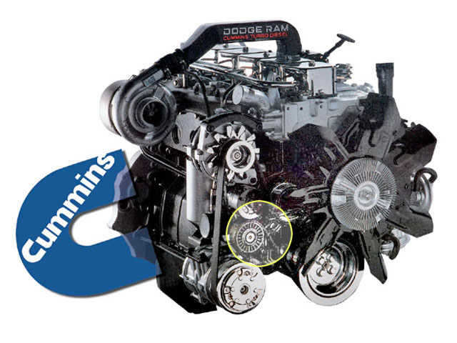 dodge ram 2500 cummins diesel serpentine belt tensioner pulley location