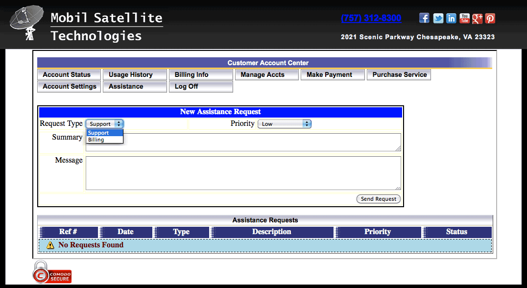 InsatSat Internet Service User Portal