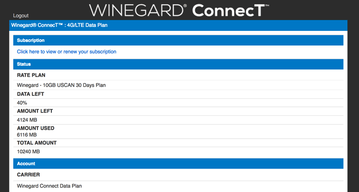 Winegard ConnecT Data Plan